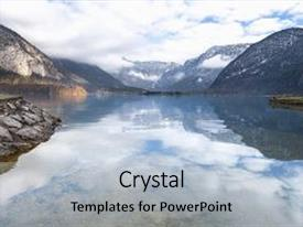 Beautiful presentation featuring austrian alps reflected in water  backdrop and a light gray colored foreground.