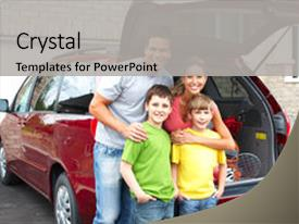 PPT theme featuring auto insurance - smiling happy family background and a light gray colored foreground.