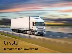Presentation design consisting of automobile - truck with container on highway background and a gold colored foreground