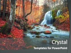 Audience pleasing PPT layouts consisting of orange - autumn forest with waterfall backdrop and a dark gray colored foreground.