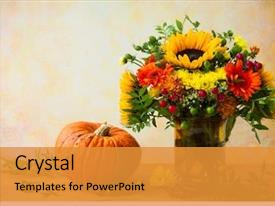 Slides featuring autumn still life with flowers background and a gold colored foreground