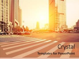 Colorful presentation theme enhanced with avenue in modern city backdrop and a coral colored foreground