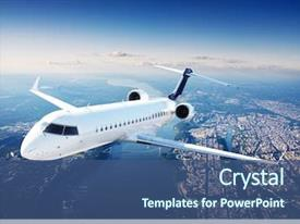 PPT theme consisting of aviation - private jet plane background and a ocean colored foreground