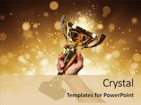Beautiful slide set featuring award - man holding up a gold backdrop and a lemonade colored foreground