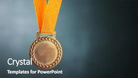 Amazing PPT theme having award - selective focus on the medal backdrop and a ocean colored foreground