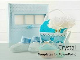 PPT layouts enhanced with baby carriage and photo album background and a light gray colored foreground.
