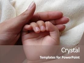Presentation theme consisting of baby hand in mom s background and a gray colored foreground.