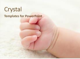 PPT theme featuring baby hand background and a cream colored foreground