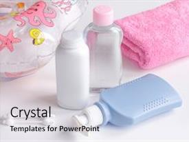 Colorful presentation theme enhanced with baby organic cosmetic for bath backdrop and a light gray colored foreground.