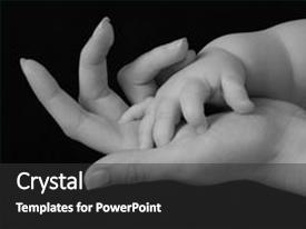 Colorful PPT theme enhanced with baby s hand in mother backdrop and a dark gray colored foreground.