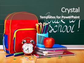 Presentation design consisting of back to school supplies background and a dark gray colored foreground.