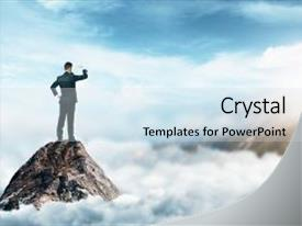 Presentation theme having back view of young businessman standing on mountain top and looking into the distance on abstract cloudscape background leadership and research concept background and a sky blue colored foreground.