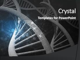 Slide deck with background image with dna molecule background and a dark gray colored foreground.