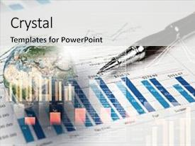 Cool new PPT theme with business growth - background image with financial charts backdrop and a light gray colored foreground