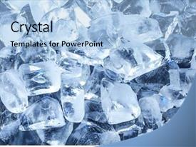 Amazing PPT theme having liquid crystal - background with ice cubes backdrop and a light blue colored foreground