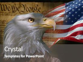 Cool new PPT theme with bald eagle with american flag backdrop and a gray colored foreground.