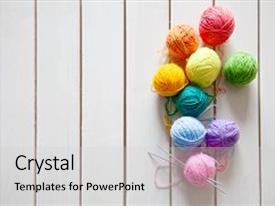 Colorful theme enhanced with balls of colored yarn view backdrop and a light gray colored foreground.