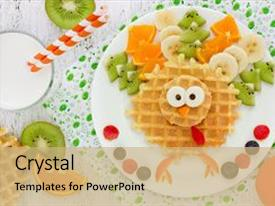 PPT theme enhanced with nutrition - banana orange fun food art background and a coral colored foreground.
