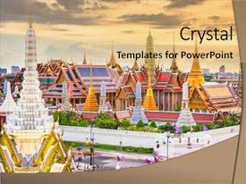 Beautiful presentation featuring bangkok thailand at the temple backdrop and a yellow colored foreground