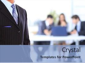 Slide deck with bank corporate - business man standing background and a light blue colored foreground