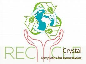 Audience pleasing PPT theme consisting of banner about recycle as a sign recycling arrows symbol with earth globe inside and hands for the symbol of environmental protection recycle icon in the linear style backdrop and a sky blue colored foreground.