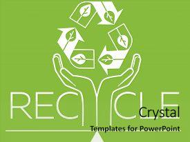 Beautiful slides featuring banner about recycle as a sign recycling arrows symbol with earth globe inside and hands for the symbol of environmental protection recycle icon silhouette in the linear style backdrop and a yellow colored foreground.