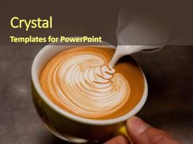 Beautiful presentation design featuring barista creating latte art backdrop and a tawny brown colored foreground.