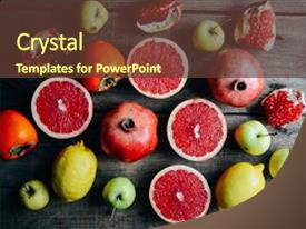 Cool new PPT theme with fruits - basket on a wooden background backdrop and a tawny brown colored foreground.