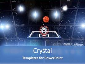 Beautiful PPT layouts featuring basketball - basket ball heading the hoop backdrop and a teal colored foreground