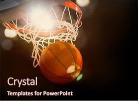 PPT theme with basketball going through the basket background and a wine colored foreground