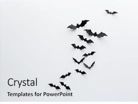 Slide deck consisting of bats flying over white background background and a light gray colored foreground