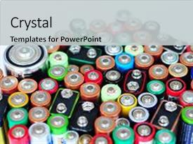 Beautiful PPT theme featuring battery recycling battery disposal environmental backdrop and a light gray colored foreground.