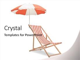 Audience pleasing slide deck consisting of beach - deck chair with an umbrella backdrop and a sky blue colored foreground