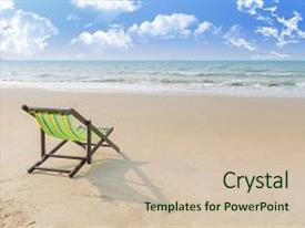 Colorful presentation enhanced with lonely - beach chair on the sand backdrop and a soft green colored foreground.