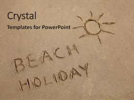 PPT theme having beach holiday written background and a coral colored foreground.