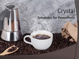 Colorful PPT layouts enhanced with beans and geyser coffee maker backdrop and a  colored foreground.