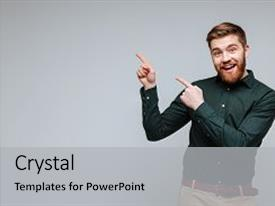 PPT theme consisting of business model - bearded man in green shirt background and a light gray colored foreground.