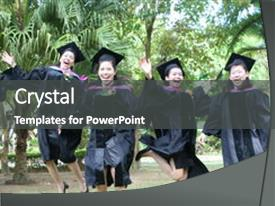 Presentation design consisting of beautiful asian university graduates celebrate background and a dark gray colored foreground.