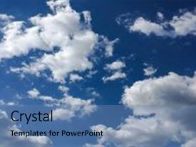 PPT theme consisting of beautiful blue sky with clouds background and a teal colored foreground.