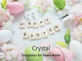 Audience pleasing slide set consisting of butterflies - beautiful delicate easter composition backdrop and a light gray colored foreground.