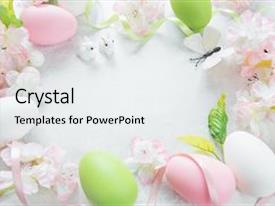 Cool new PPT theme with background butterfly - beautiful delicate easter frame backdrop and a white colored foreground.