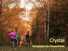 Cool new presentation with girls run park autumn running backdrop and a tawny brown colored foreground.