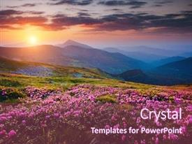 Slides having beautiful nature landscape amazing mountain background and a violet colored foreground