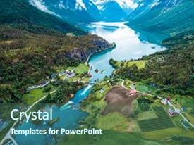 PPT theme having beautiful nature norway natural landscape aerial photography lovatnet lake background and a ocean colored foreground.