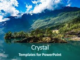 Amazing PPT theme having beautiful nature norway natural landscape backdrop and a ocean colored foreground.