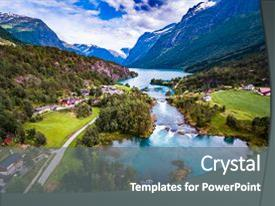 Amazing presentation design having beautiful nature norway natural landscape backdrop and a gray colored foreground.