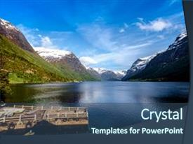 PPT layouts having beautiful nature norway natural landscape background and a  colored foreground.