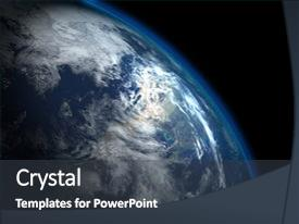 Cool new PPT theme with beautiful planet earth backdrop and a dark gray colored foreground.