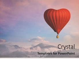 Cool new PPT theme with beautiful red air balloon heart backdrop and a soft green colored foreground