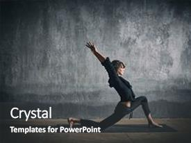 Beautiful presentation theme featuring beautiful sporty fit yogini woman practices yoga asana virabhadrasana 1 - warrior pose 1 in the dark hall backdrop and a dark gray colored foreground.